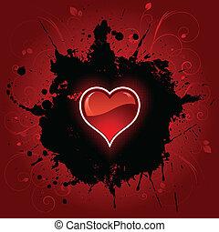 coração, grunge, fundo