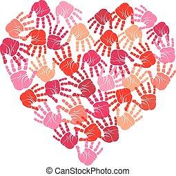 coração, handprint, vetorial