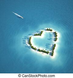 coração, ilha, paraisos , dado forma