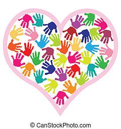 coração, impressões, crianças, mão