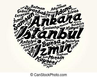 coração, lista, cidades, palavra, nuvem