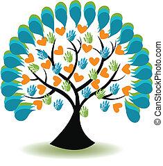 coração, mãos, árvore, logotipo