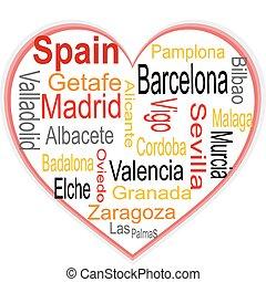 coração, maior, nuvem, palavras, cidades, espanha