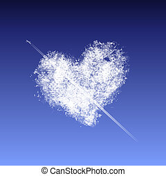 coração, nuvem, forma