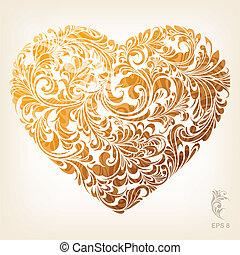 coração, ornamental, ouro, padrão