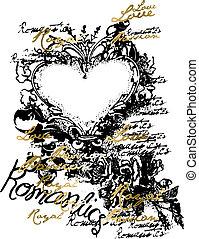 coração, ornamento, emblema, scroll, fantasia