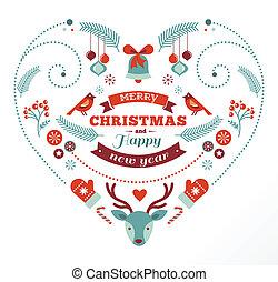coração, pássaros, elementos, veado, desenho, fitas, natal
