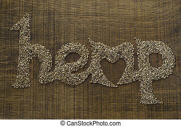 coração, palavra, artisticamente, madeira, word., escrito, forma, sementes, corte, cânhamo, tábua, integrada