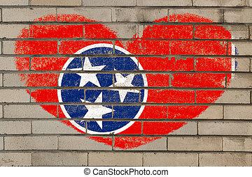 coração, parede, forma, bandeira, tennessee, tijolo