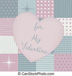 coração, patchwork, valentines, middle., dia, sensual
