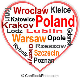 coração, polônia, maior, palavras, cidades, nuvem