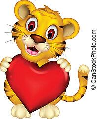 coração, posar, bebê, cute, tiger