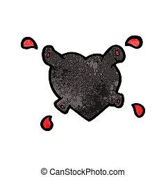 coração, pretas, caricatura