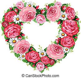 coração, quadro, rosas