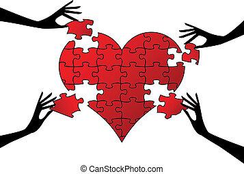 coração, quebra-cabeça, vetorial, mãos, vermelho