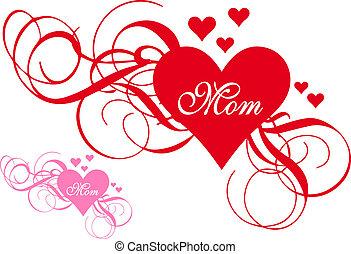 coração, redemoinhos, dia, vermelho, mãe