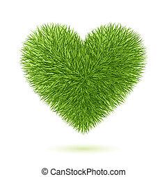 coração, símbolo, capim