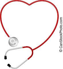 coração, símbolo, estetoscópio