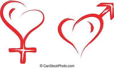 coração, símbolo, macho, femininas, sexo