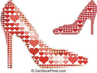 coração, sapato, vermelho, padrão