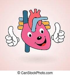 coração saudável, caricatura