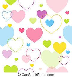 coração, seamless, padrão