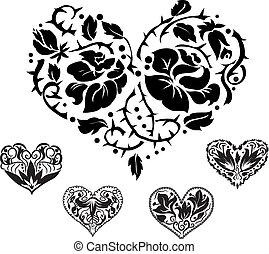 coração, silhuetas, 5, ornate