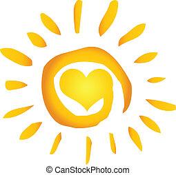 coração, sol, quentes, abstratos, verão