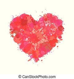 coração, splatter., símbolo, ilustração, sinal, pintura aquarela, amor, ícone