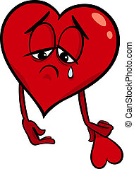 coração, triste, caricatura, ilustração, quebrada