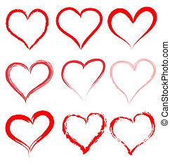 coração, valentines, valentine, vetorial, corações, dia, vermelho