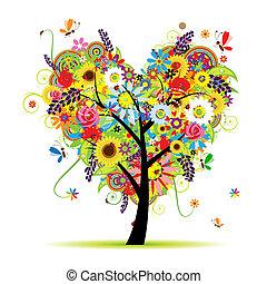 coração, verão, floral, árvore, forma