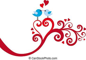 coração, vetorial, amor, redemoinho, pássaros
