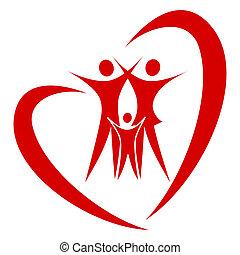 coração, vetorial, família