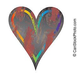 coração, vetorial, grunge