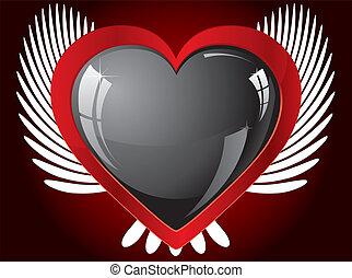 coração, winged, ilustração, vetorial, pretas, brilhar