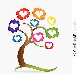 corações, amor, árvore familiar, logotipo