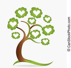 corações, amor, logotipo, árvore, família