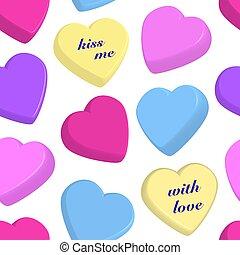 corações, branca, coloridos, fundo