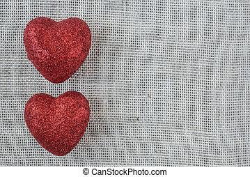 corações, burlap, experiência vermelha