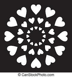 corações, círculo, amor