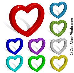 corações, colorido, cobrança, 3d