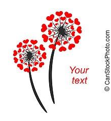 corações, dandelion, abstratos