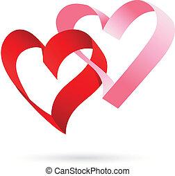 corações, dois, fita