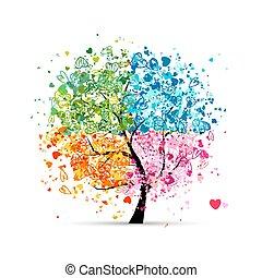 corações, estações, -, verão, seu, árvore, quatro, outono, arte, winter., primavera, feito, desenho