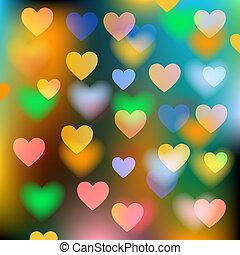 corações, fundo, vetorial, abstratos