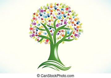 corações, mãos, impressão, amor, logotipo, árvore