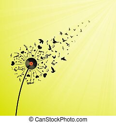 corações, notas, dandelion