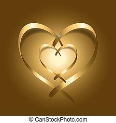 corações, ouro, seda, dois, fita