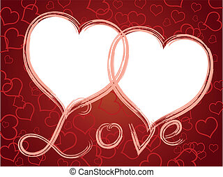 corações, quadro, amor, dois, padrão